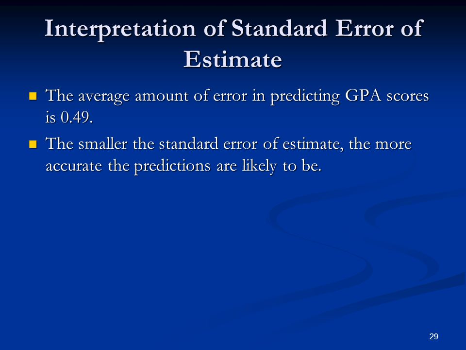 Interpretation of Standard Error of Estimate