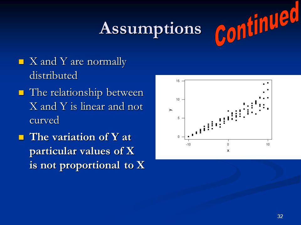 Assumptions Continued X and Y are normally distributed