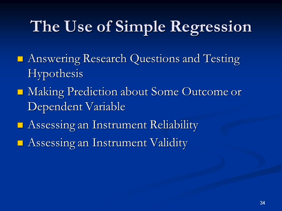 The Use of Simple Regression