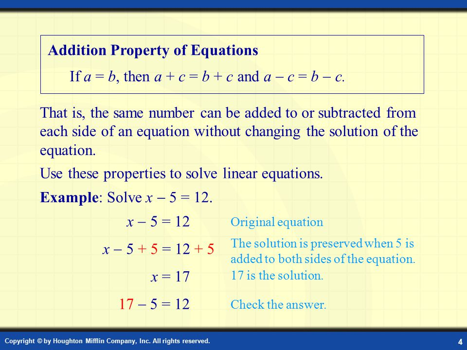 Addition Property of Equations