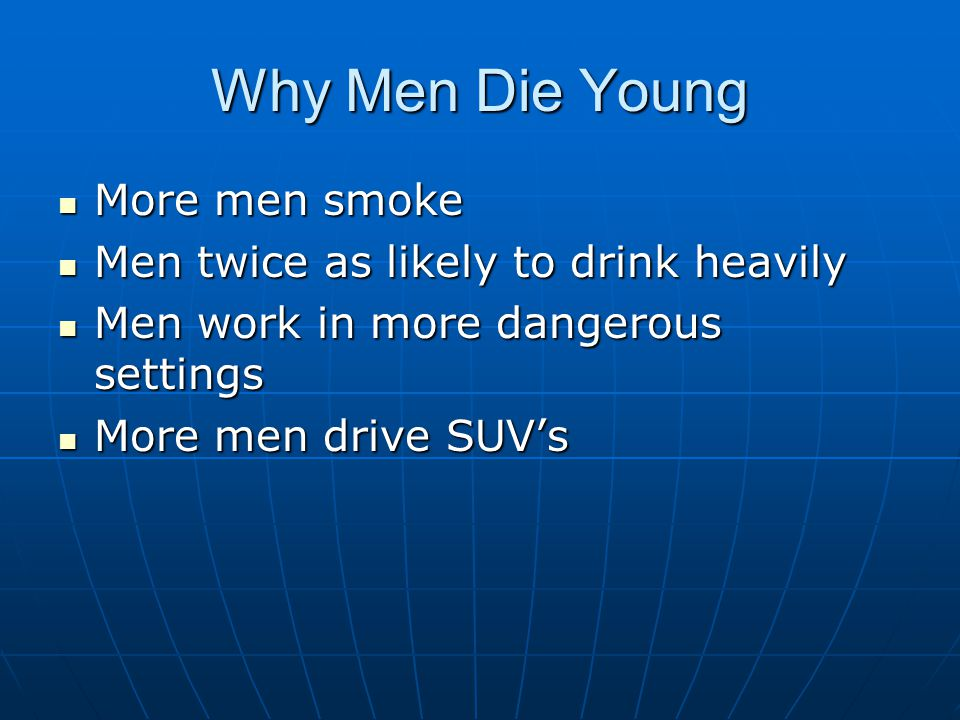 Why Men Die Young More men smoke Men twice as likely to drink heavily