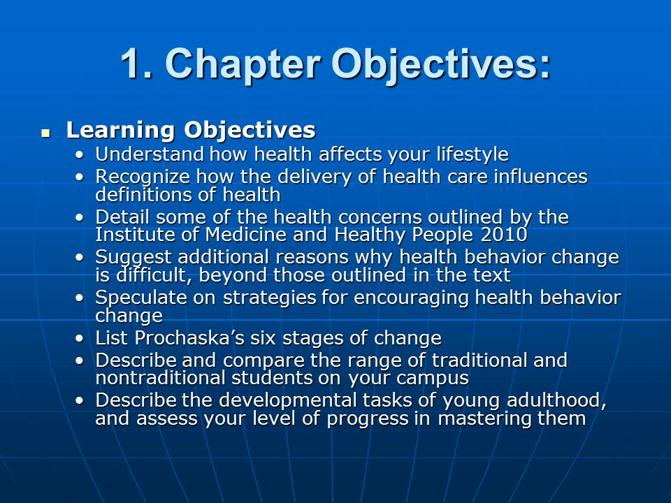 1. Chapter Objectives: Learning Objectives