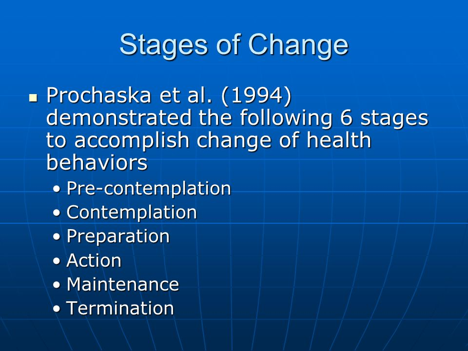 Stages of Change Prochaska et al. (1994) demonstrated the following 6 stages to accomplish change of health behaviors.