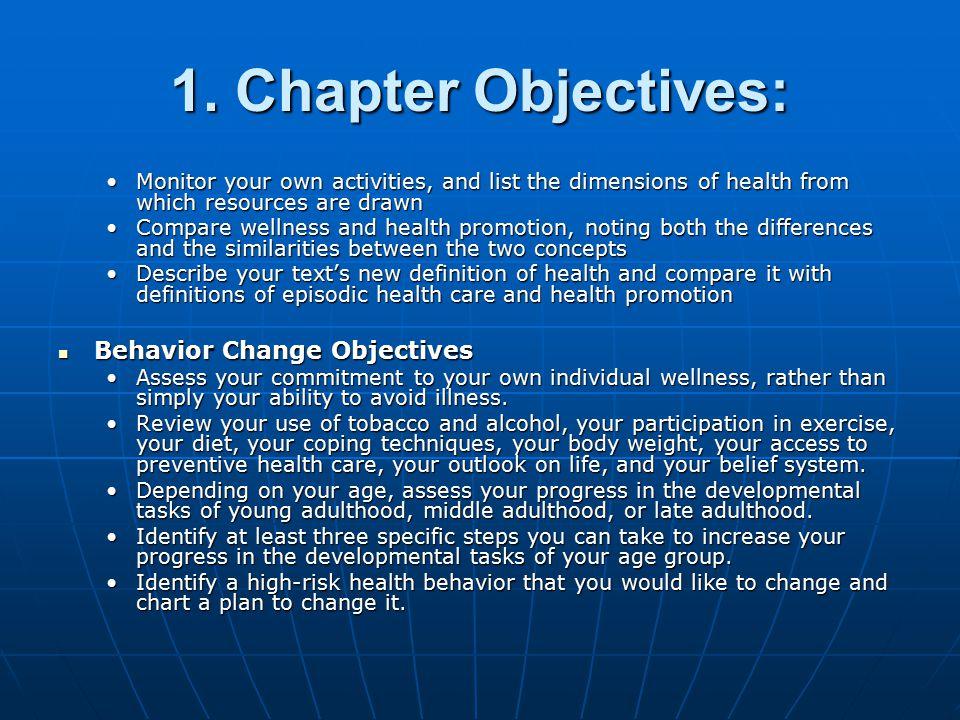 1. Chapter Objectives: Behavior Change Objectives