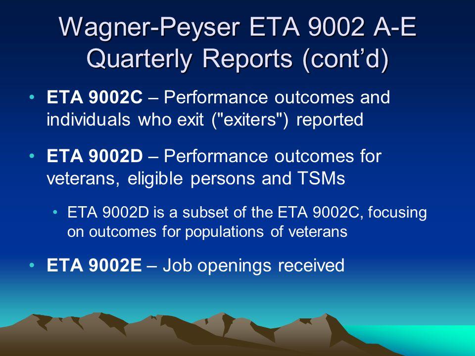 Wagner-Peyser ETA 9002 A-E Quarterly Reports (cont'd)