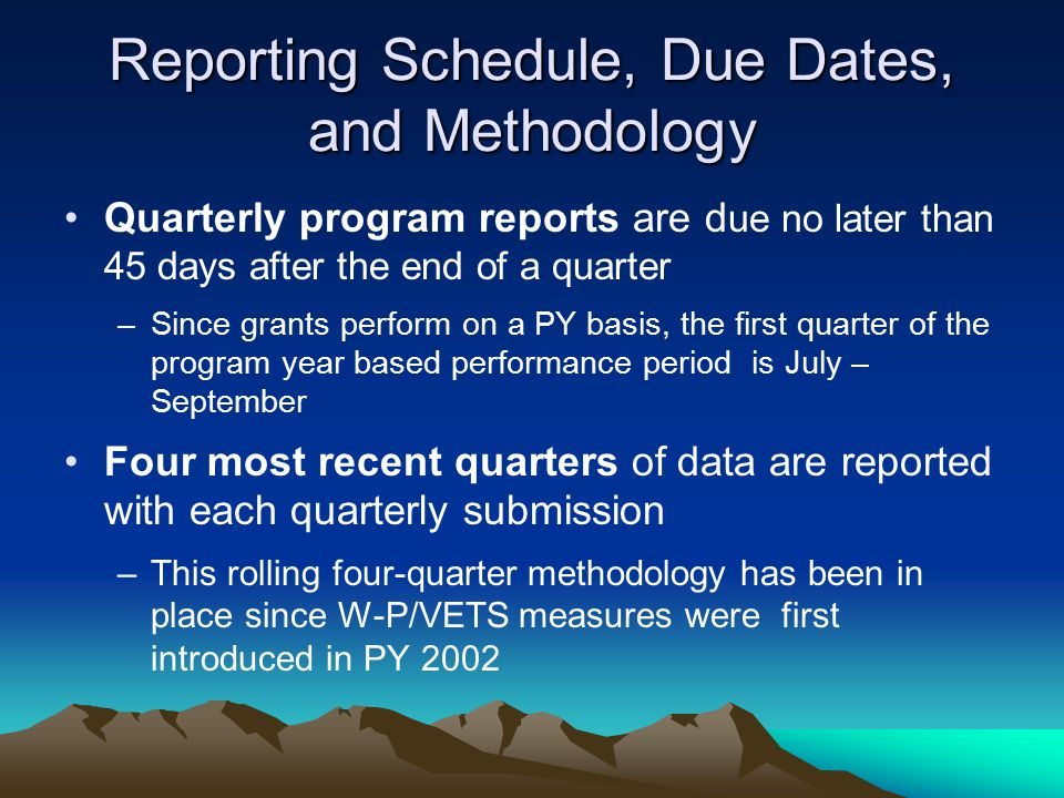 Reporting Schedule, Due Dates, and Methodology