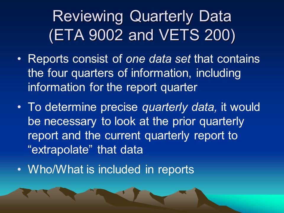 Reviewing Quarterly Data (ETA 9002 and VETS 200)