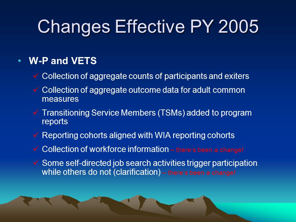 Changes Effective PY 2005 W-P and VETS