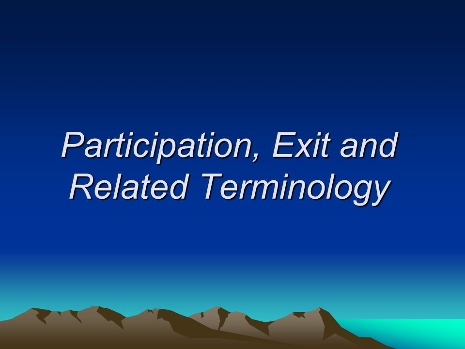Participation, Exit and Related Terminology