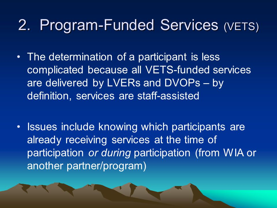2. Program-Funded Services (VETS)