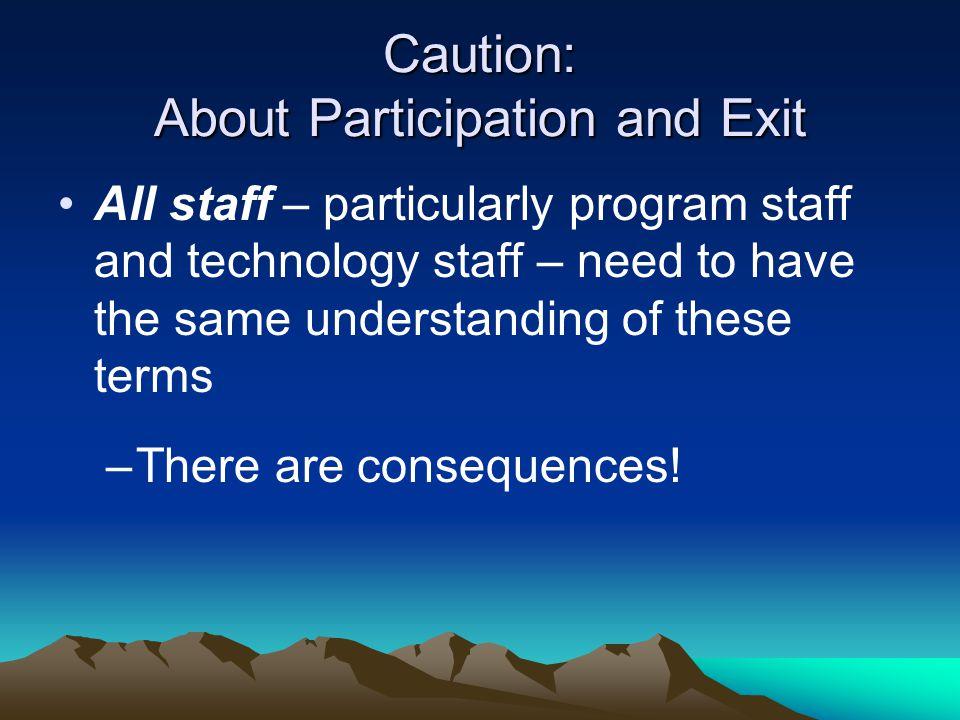 Caution: About Participation and Exit