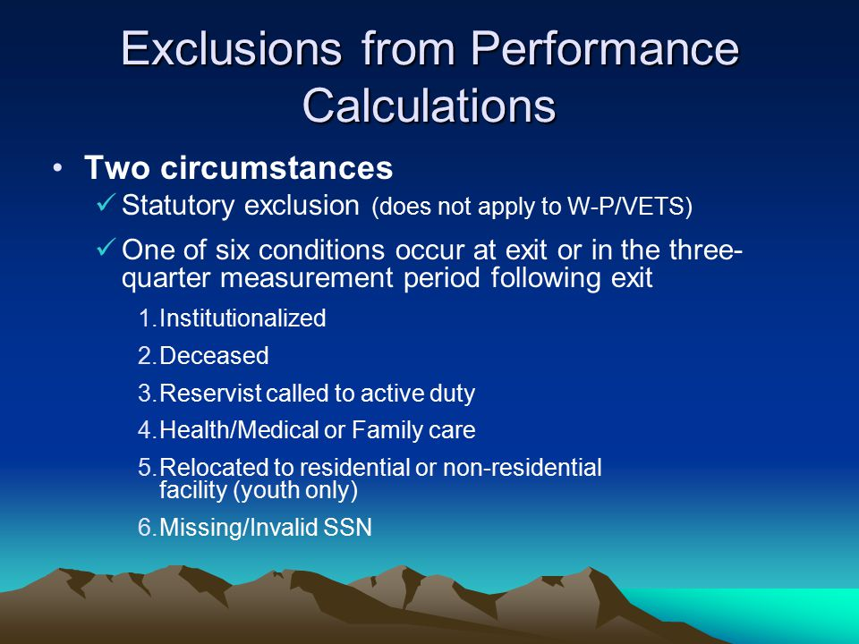 Exclusions from Performance Calculations