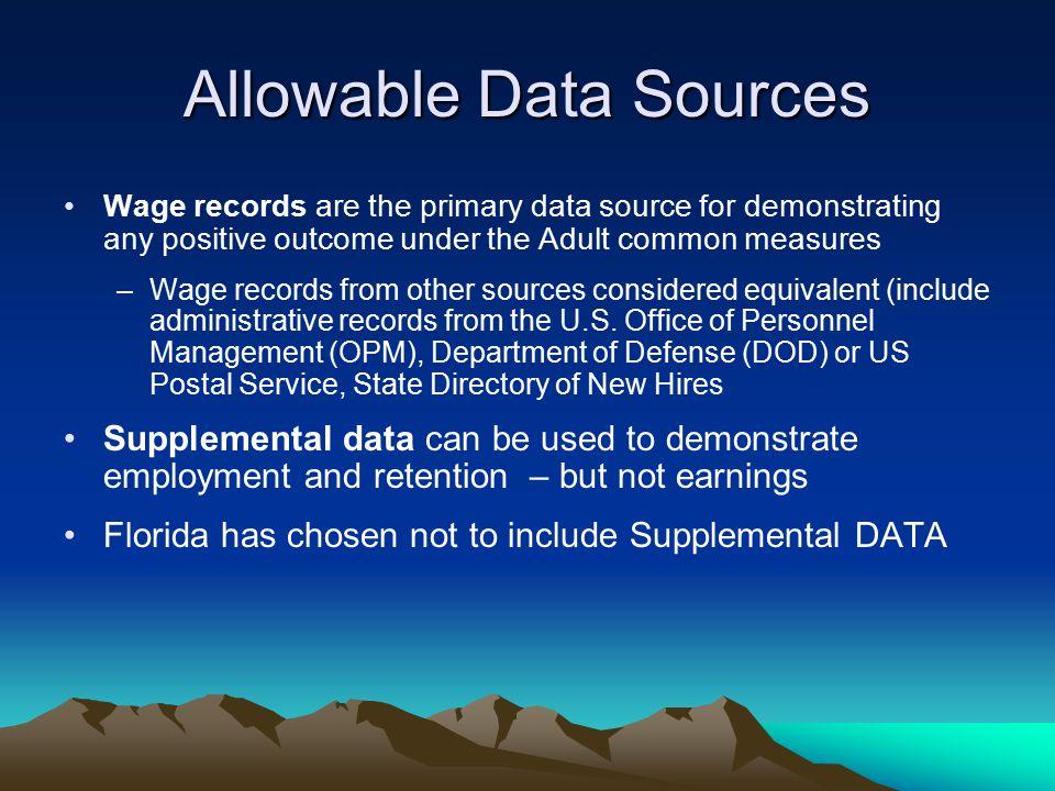Allowable Data Sources