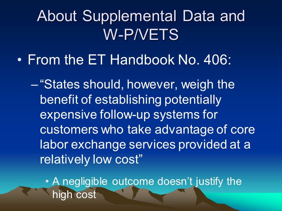 About Supplemental Data and W-P/VETS