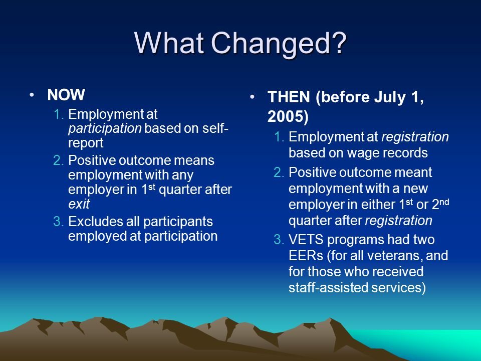 What Changed NOW THEN (before July 1, 2005)