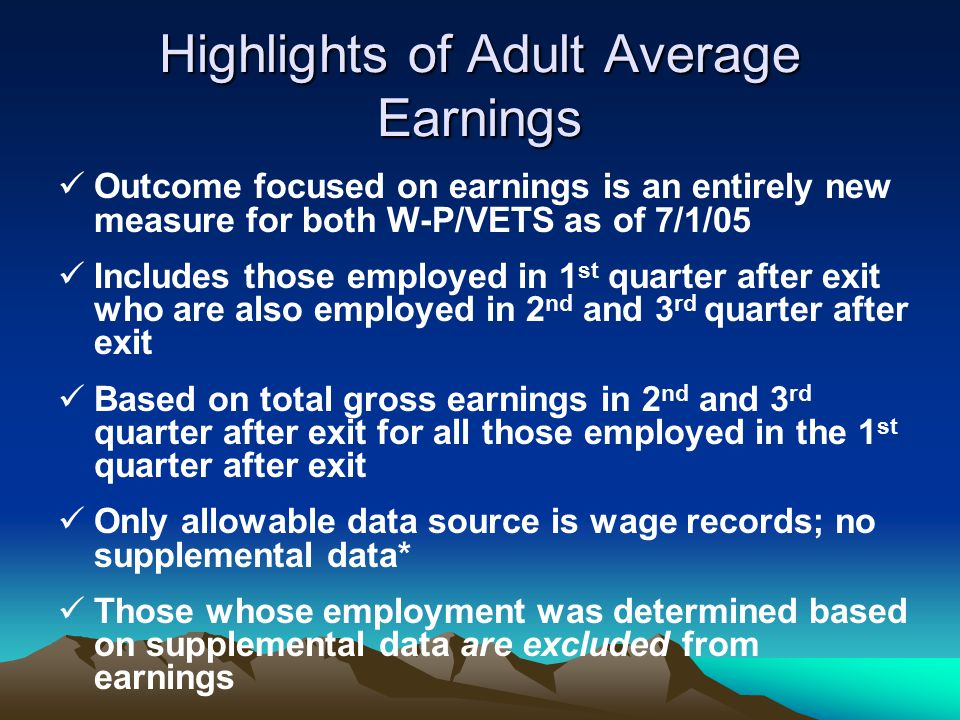 Highlights of Adult Average Earnings
