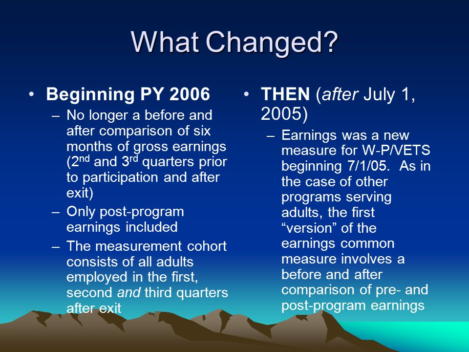 What Changed Beginning PY 2006 THEN (after July 1, 2005)