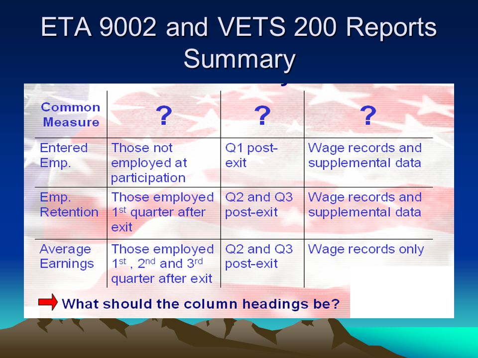 ETA 9002 and VETS 200 Reports Summary