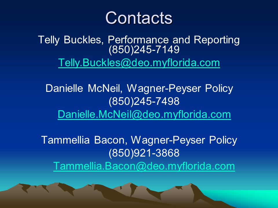 Contacts Telly Buckles, Performance and Reporting (850)245-7149