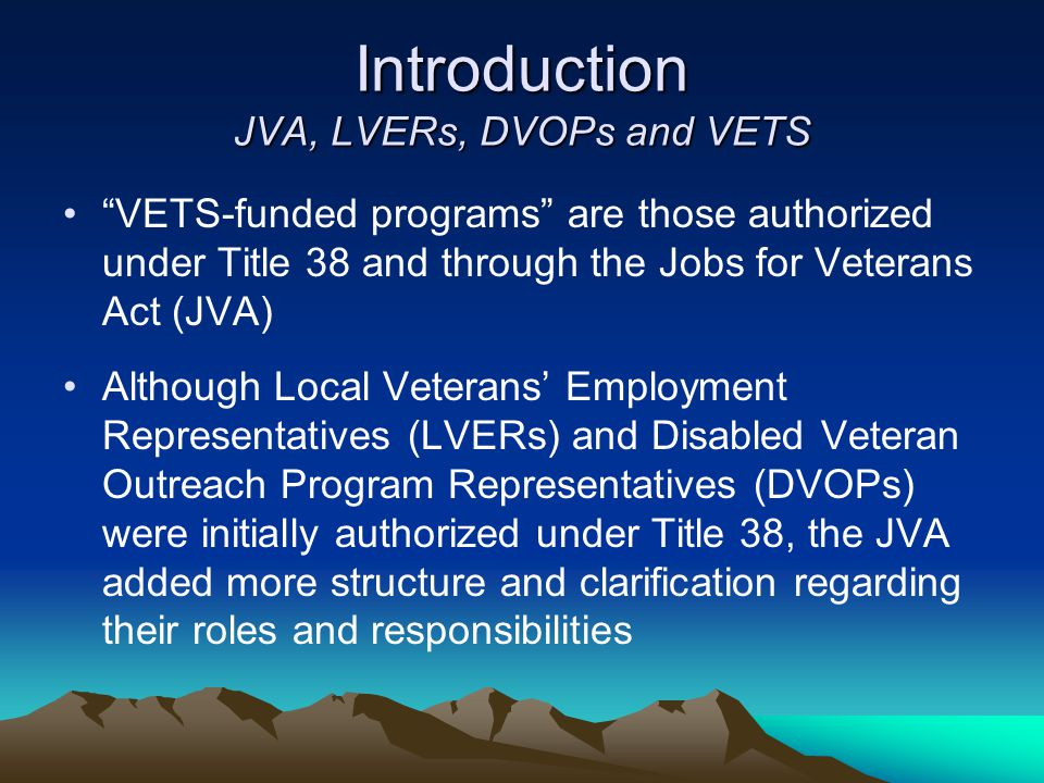 Introduction JVA, LVERs, DVOPs and VETS