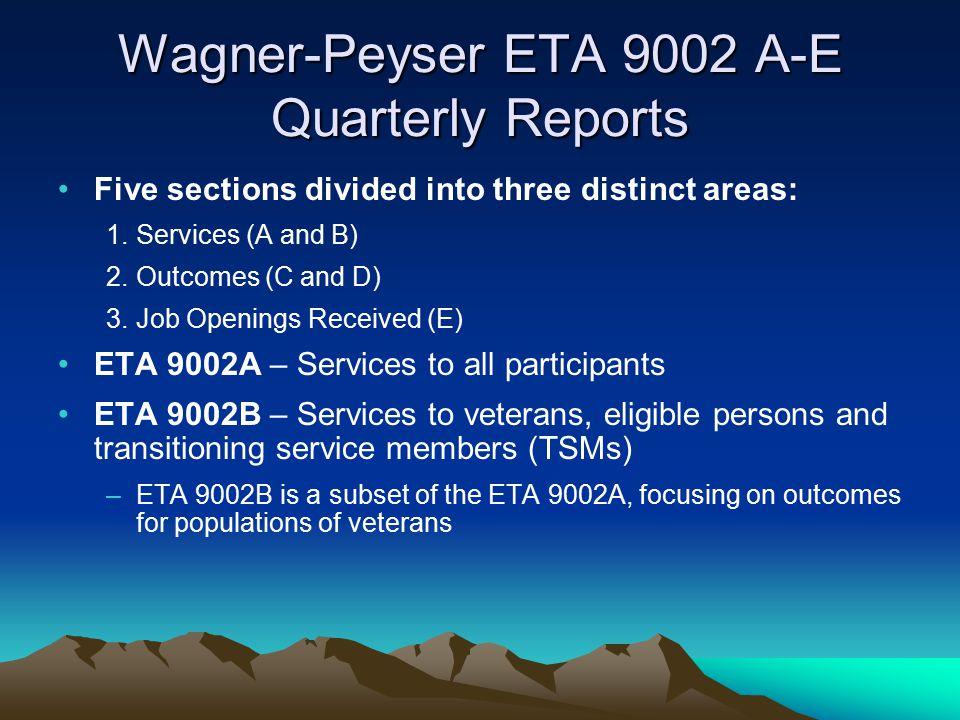Wagner-Peyser ETA 9002 A-E Quarterly Reports