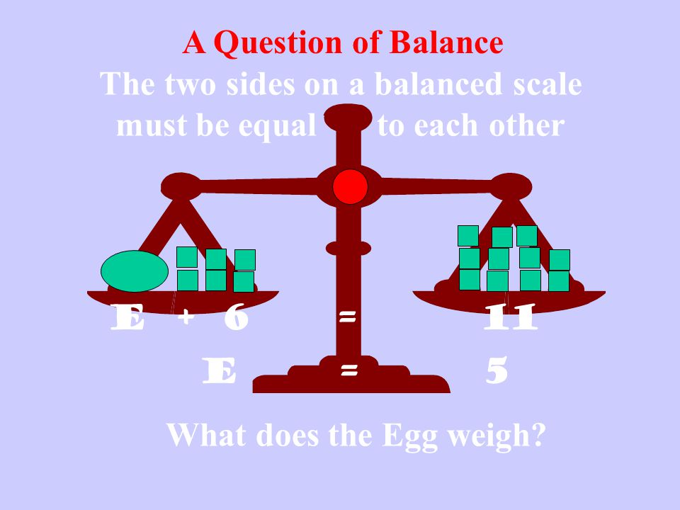 The two sides on a balanced scale must be equal to each other