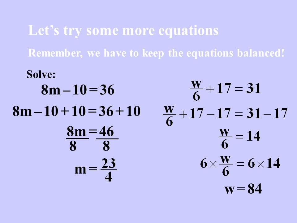 Let's try some more equations
