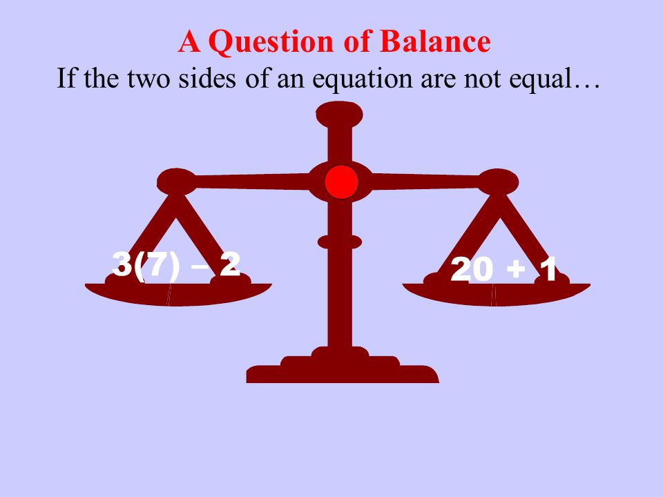 If the two sides of an equation are not equal…