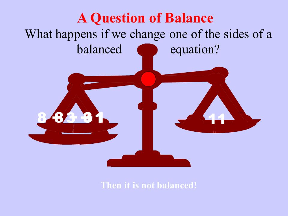 What happens if we change one of the sides of a balanced equation