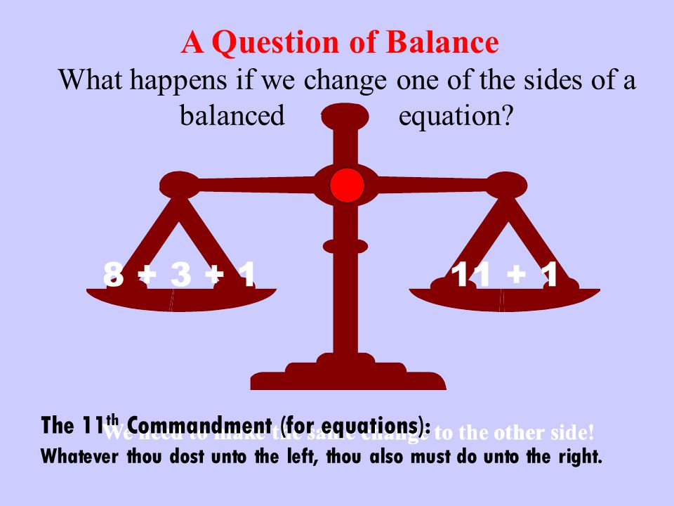 A Question of Balance 8 + 3 + 1 11 + 1