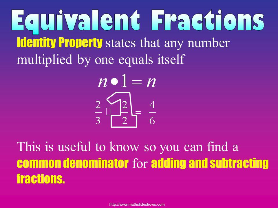 Equivalent Fractions Identity Property states that any number multiplied by one equals itself.