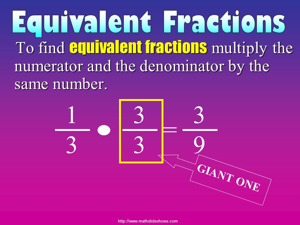 Equivalent Fractions To find equivalent fractions multiply the numerator and the denominator by the same number.
