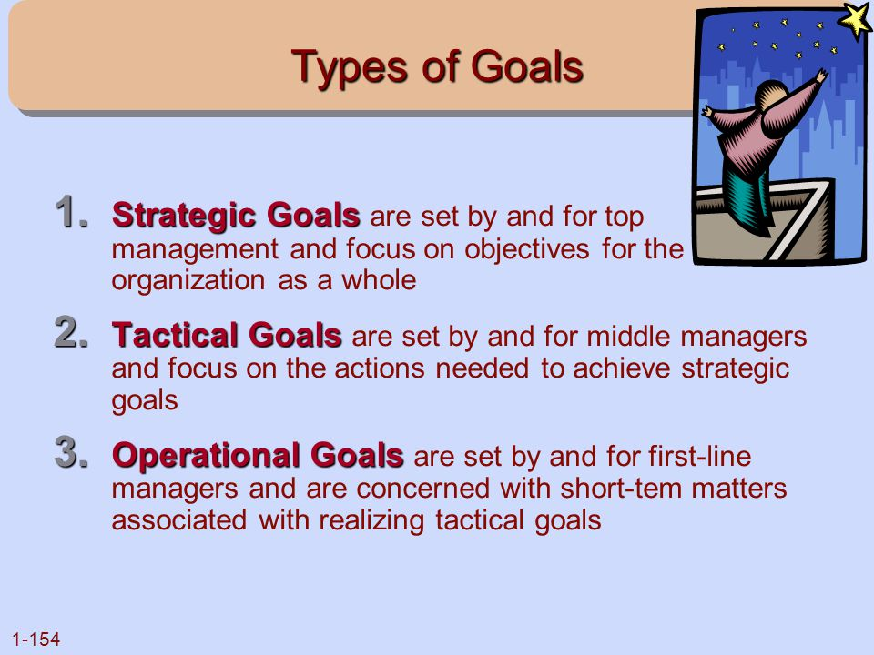 Types of Goals Strategic Goals are set by and for top management and focus on objectives for the organization as a whole.