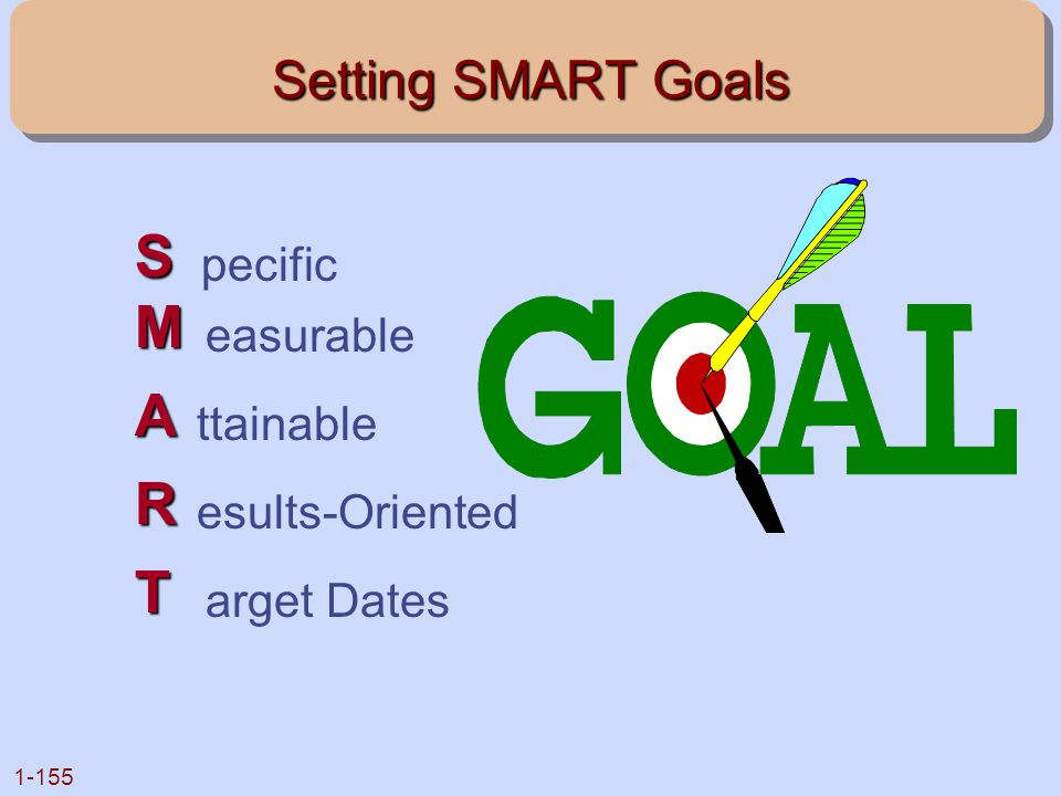 S M A R T Setting SMART Goals pecific easurable ttainable