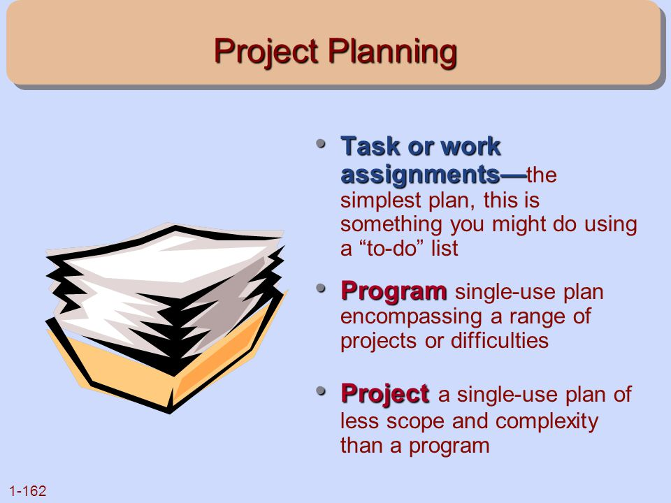 Project Planning Task or work assignments—the simplest plan, this is something you might do using a to-do list.