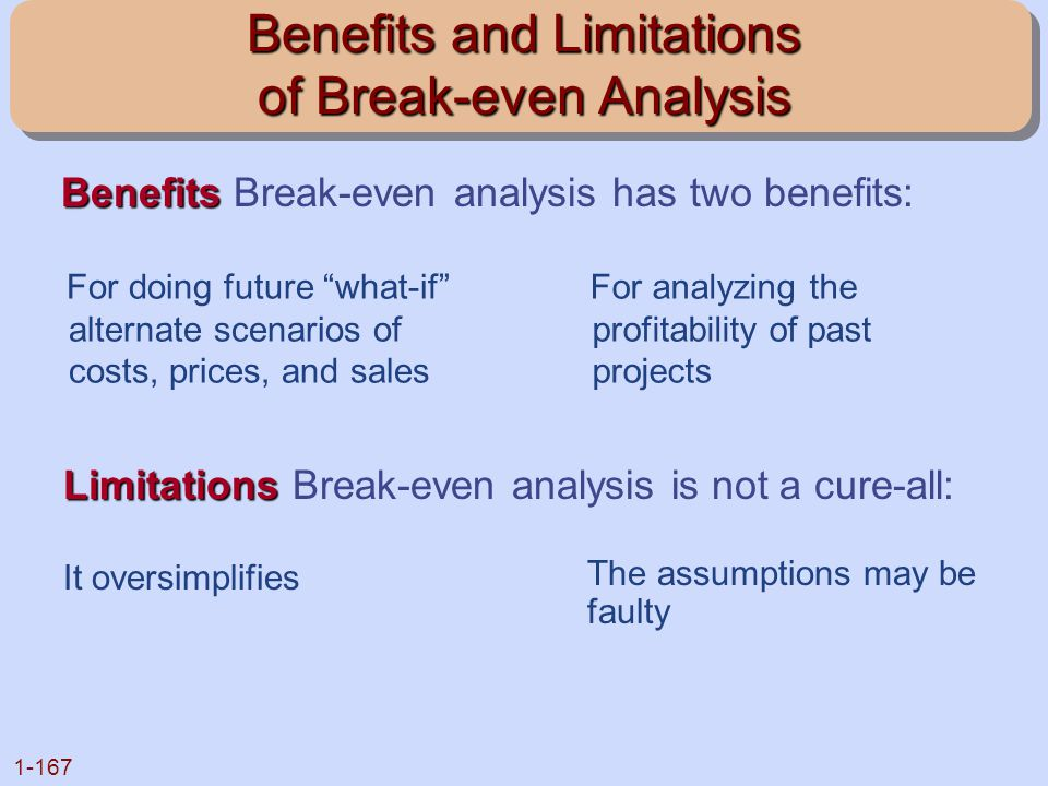 Benefits and Limitations of Break-even Analysis