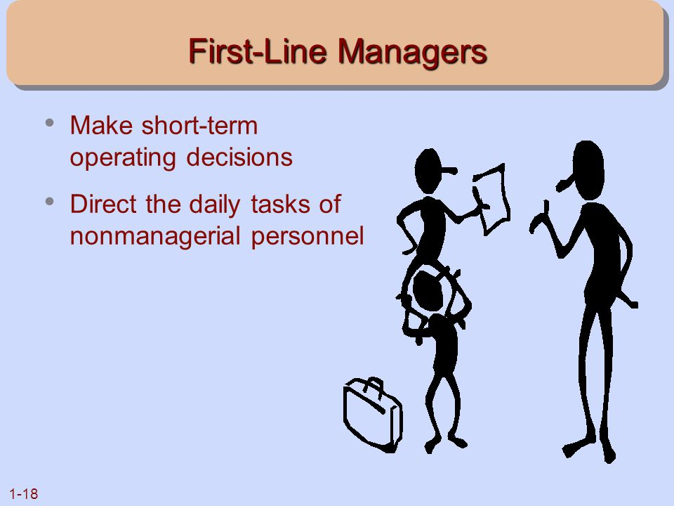 First-Line Managers Make short-term operating decisions