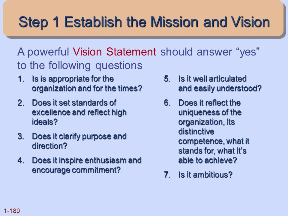 Step 1 Establish the Mission and Vision