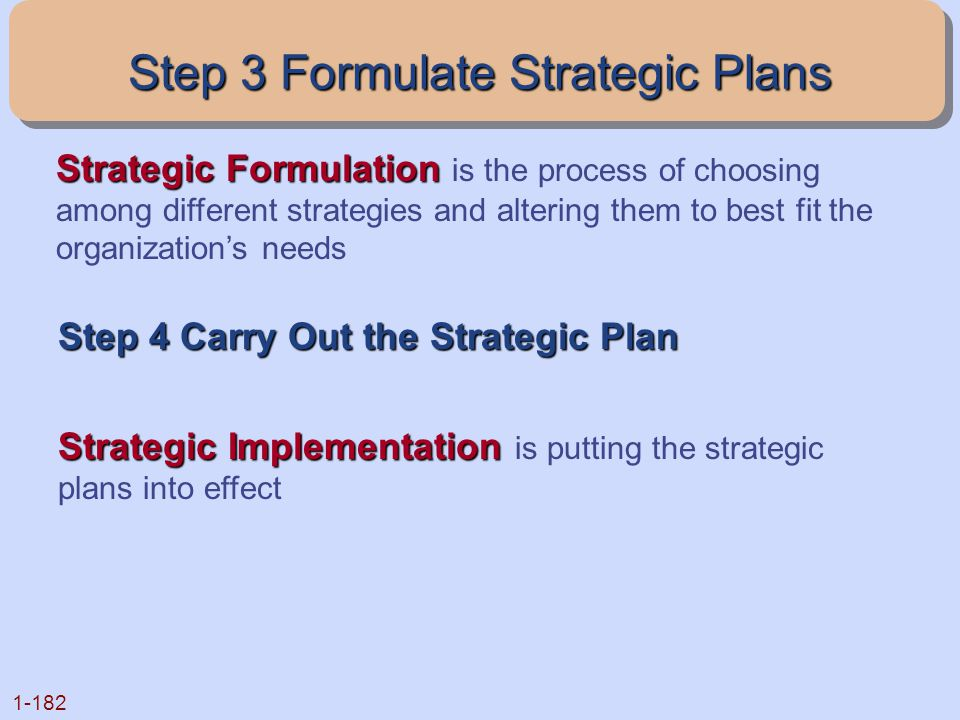 Step 3 Formulate Strategic Plans