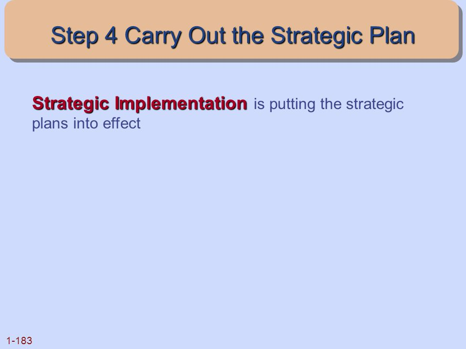 Step 4 Carry Out the Strategic Plan