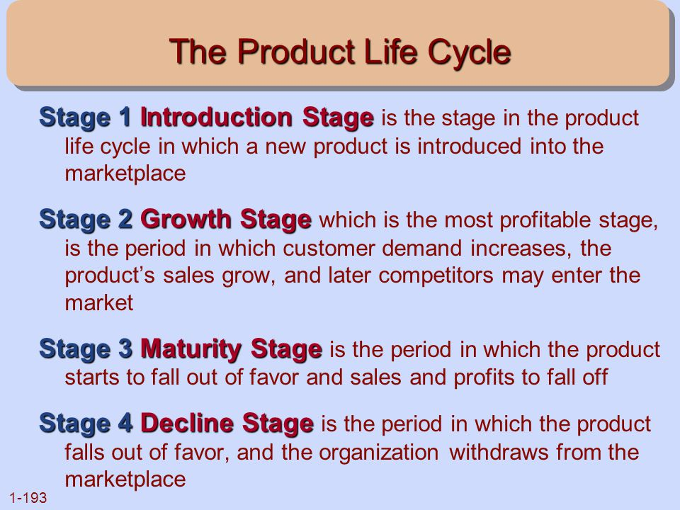 The Product Life Cycle Stage 1 Introduction Stage is the stage in the product life cycle in which a new product is introduced into the marketplace.