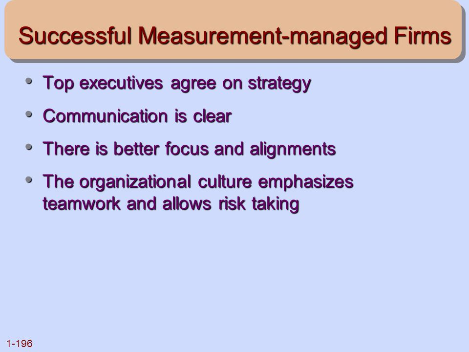 Successful Measurement-managed Firms
