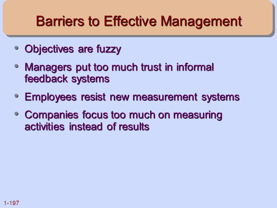 Barriers to Effective Management