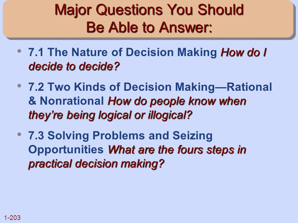 Major Questions You Should Be Able to Answer: