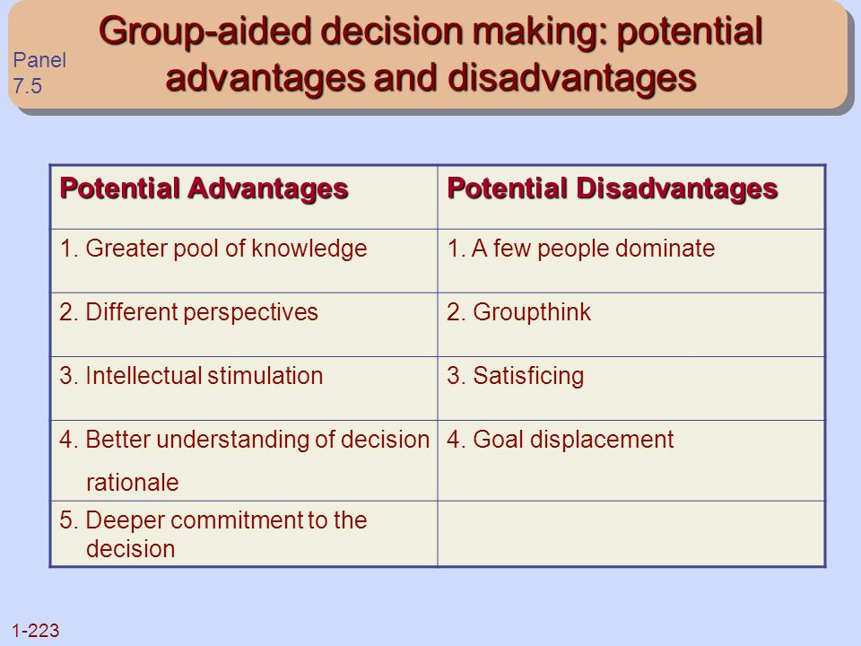 Group-aided decision making: potential advantages and disadvantages