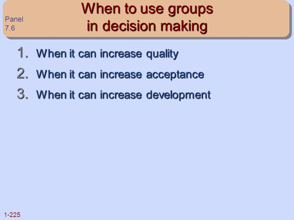 When to use groups in decision making