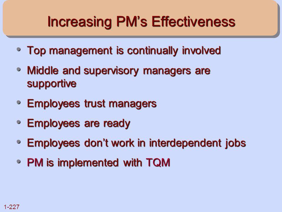 Increasing PM's Effectiveness