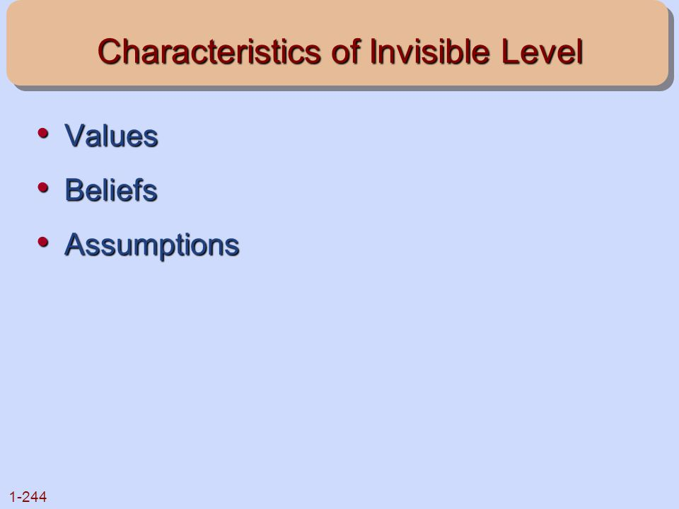 Characteristics of Invisible Level