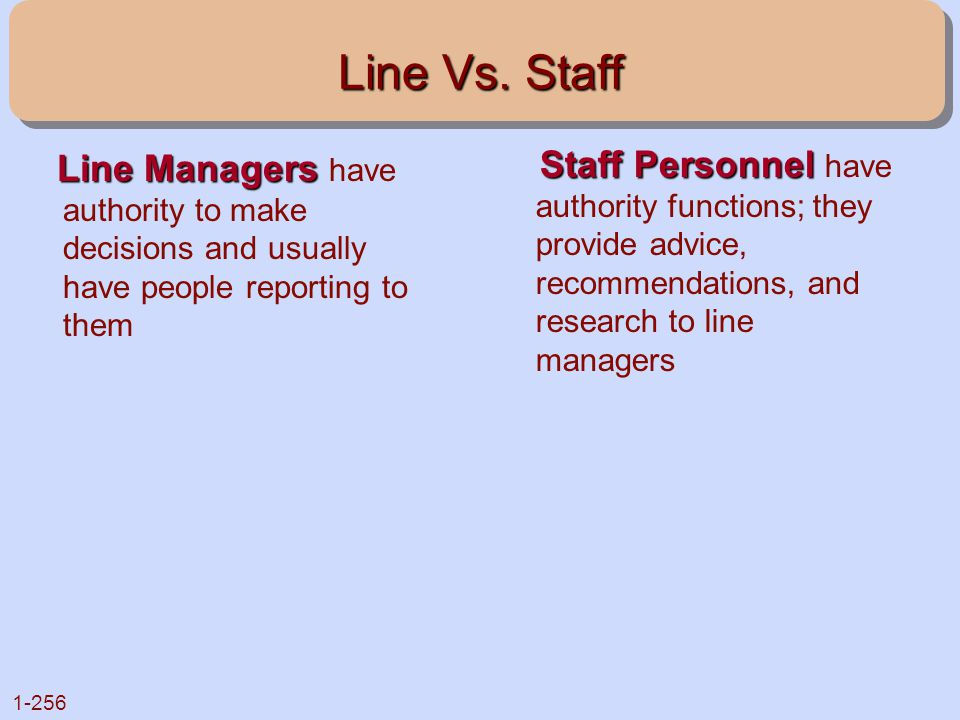 Line Vs. Staff Line Managers have authority to make decisions and usually have people reporting to them.