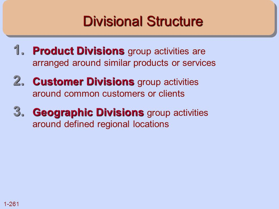 Divisional Structure Product Divisions group activities are arranged around similar products or services.